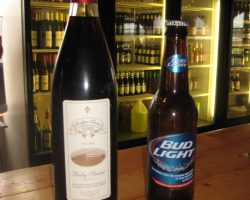 wine bottle and beer